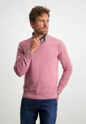 Pullover-mit-V-Ausschnitt-aus-Bio-Baumwolle---alt-rosa-uni