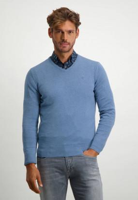 Pullover-mit-V-Ausschnitt-aus-Bio-Baumwolle---grau-blau-uni