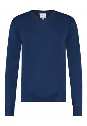 Pullover-mit-V-Ausschnitt-aus-Bio-Baumwolle---kobalt-uni
