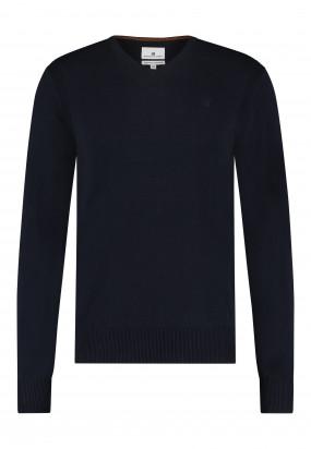 Pullover-mit-V-Ausschnitt-aus-Bio-Baumwolle---dunkelblau-uni