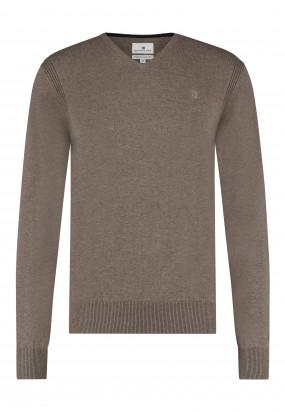 Pullover-mit-V-Ausschnitt-aus-Bio-Baumwolle---sepia-uni