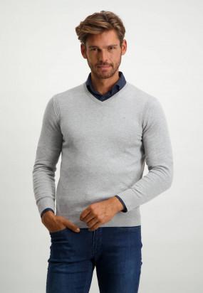 Pullover-mit-V-Ausschnitt-aus-Bio-Baumwolle---silbergrau-uni