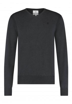 Pullover-mit-V-Ausschnitt-aus-Bio-Baumwolle---dunkel-anthraz.-uni