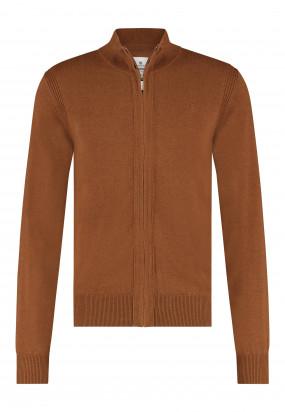 Cardigan-mit-Reißverschluss-aus-Bio-Baumwolle---cognac-uni