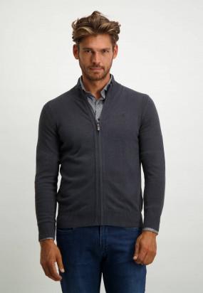Organic-cotton-cardigan-with-zip---dark-anthracite-plain