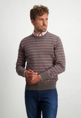 Baumwollpullover-mit-Streifen---sepia/alt-rosa