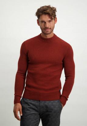 Pullover-aus-einem-Lammwolle-Mix-mit-Rollkragen---ziegel-uni