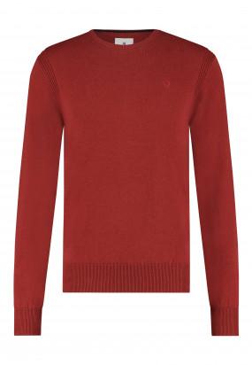 Pullover-mit-R-Ausschnitt-aus-Bio-Baumwolle---ziegel-uni