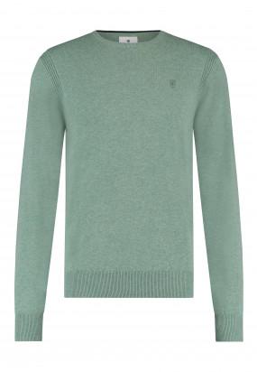 Pullover-mit-R-Ausschnitt-aus-Bio-Baumwolle---blattgrün-uni