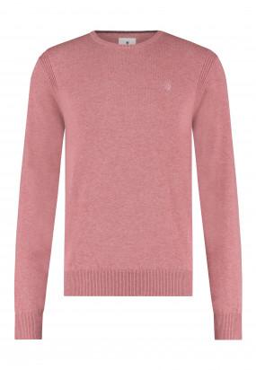 Pullover-mit-R-Ausschnitt-aus-Bio-Baumwolle---alt-rosa-uni