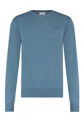 Pullover-mit-R-Ausschnitt-aus-Bio-Baumwolle---grau-blau-uni