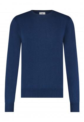 Pullover-mit-R-Ausschnitt-aus-Bio-Baumwolle---kobalt-uni