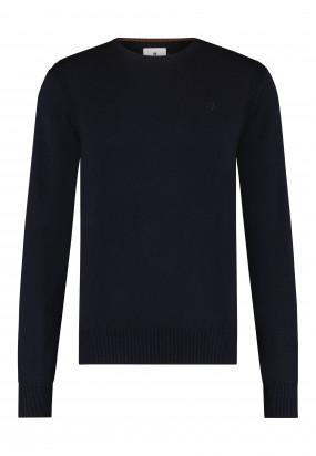 Pullover-mit-R-Ausschnitt-aus-Bio-Baumwolle---dunkelblau-uni
