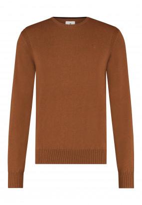 Pullover-mit-R-Ausschnitt-aus-Bio-Baumwolle---cognac-uni