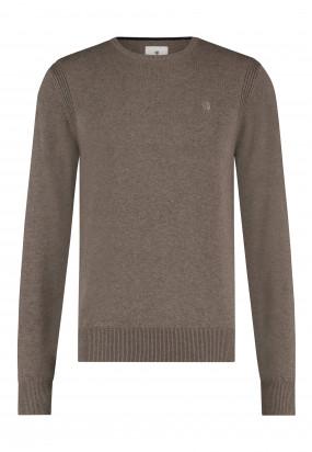 Pullover-mit-R-Ausschnitt-aus-Bio-Baumwolle---sepia-uni