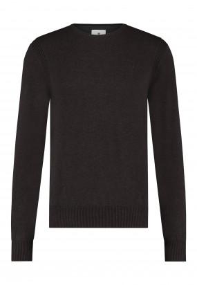 Pullover-mit-R-Ausschnitt-aus-Bio-Baumwolle---dunkelbraun-uni