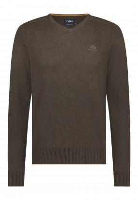 Pull-en-laine-d'agneau-mérinos---brun-foncé-uni