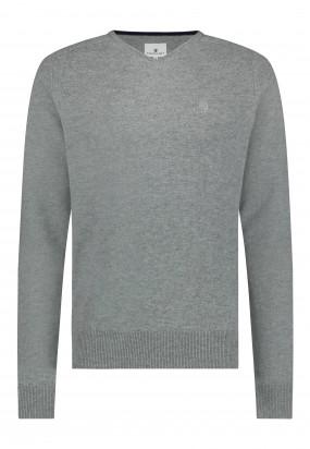 Pull-en-laine-d'agneau-mérinos---gris-argenté-monochrome