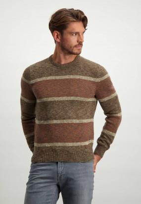 Striped-round-neck-pullover---cognac/brick