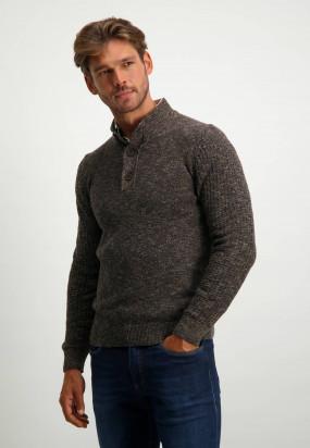Regular-fit-pullover-with-sport-zip---dark-blue/dark-brown