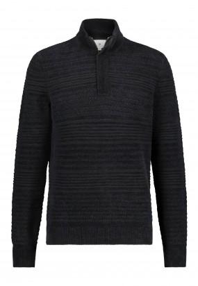 Katoenen-trui-met-chenille-details---zwart-uni
