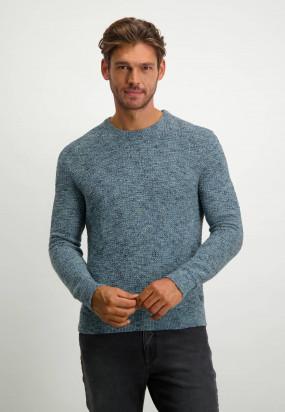 Textured-wool-look-pullover---midnight/grey-blue