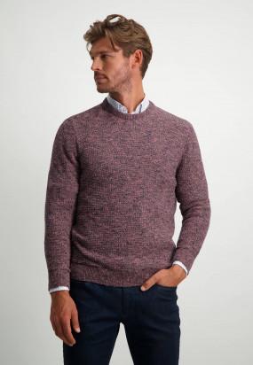 Strukturstrick-Pullover-im-Wolle-Look---dunkelblau/sepia