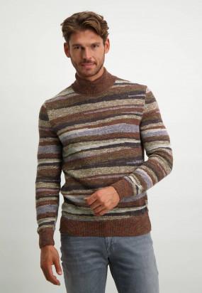 Turtle-neck-jacquard-pullover-in-regular-fit---brick/cognac