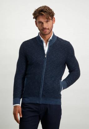 Gestreifter-Cardigan-aus-Baumwolle---grau-blau/dunkelblau