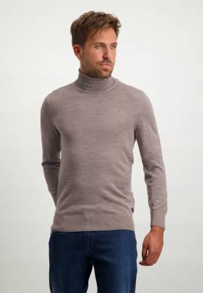 Wool-blend-turtleneck-pullover---sepia-plain