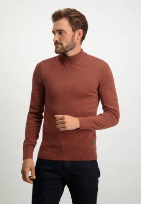 Pullover-mit-Rollkragen-und-normaler-Passform---ziegel-uni