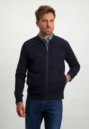 Cardigan-aus-einem-Baumwolle-Mix-mit-Seitentaschen---dunkelblau-uni