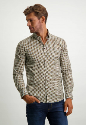 Button-down-shirt-in-print---cognac/midnight