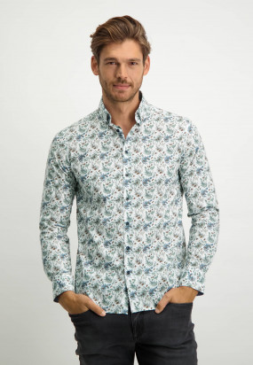 Printed-shirt-with-a-regular-fit.---grey-blue/emerald-green