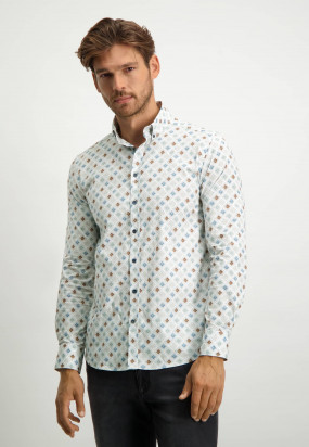 Stretch-shirt-with-all-over-print---grey-blue/emerald-green