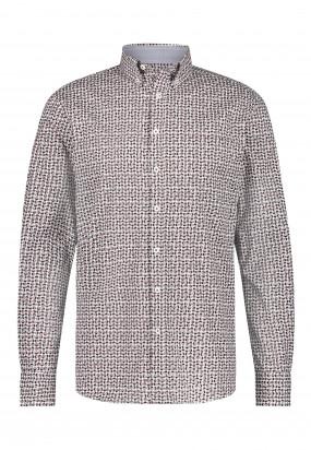 Cotton-shirt-with-geometric-print---brick/midnight