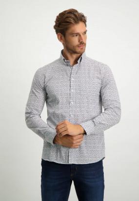 Cotton-shirt-with-geometric-print---midnight/cognac