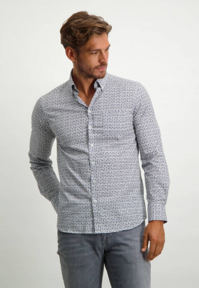 Cotton-shirt-with-geometric-print---dark-blue/silvergrey