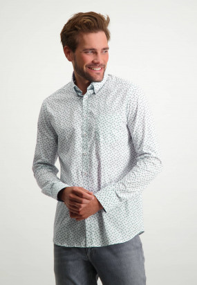 Button-down-shirt-with-chest-pocket---grey-blue/emerald-green