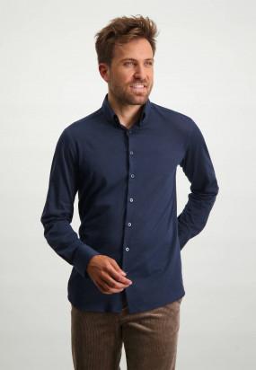 Baumwoll-Hemd-mit-Button-Down-Kragen---dunkelblau-uni