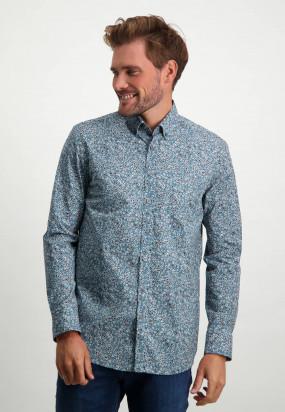 Stretch-shirt-of-organic-cotton---midnight/cognac