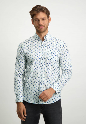 Oberhemd-mit-Button-down-Kragen-aus-biologischer-Baumwolle---grau-blau/blattgrün