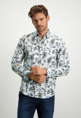 Popeline-Oberhemd-aus-biologischer-Baumwolle---dunkelblau/cognac