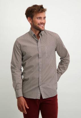 Oberhemd-aus-Baumwoll-Stretch-mit-Print---ziegel/dunkelblau