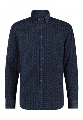Chemise-à-imprimé-paisley---blue-foncé/sépia