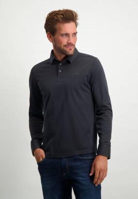 Long-sleeved-polo-shirt-of-mercerized-cotton---dark-brown/midnight