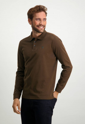 Piqué-sports-shirt-in-mercerized-cotton---dark-brown/cognac