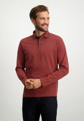 Heavily-brushed-polo-shirt-with-regular-fit---brick-plain