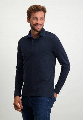 Heavily-brushed-polo-shirt-with-regular-fit---dark-blue-plain