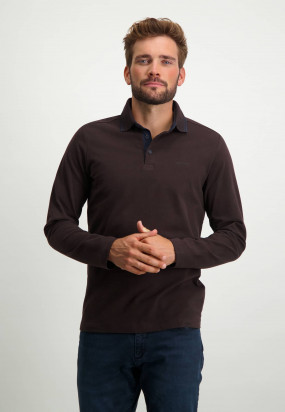 Heavily-brushed-polo-shirt-with-regular-fit---dark-brown-plain